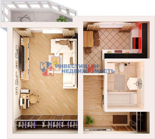 Варианты оттделки балкона в однокомнатной квартире типа 44-п.